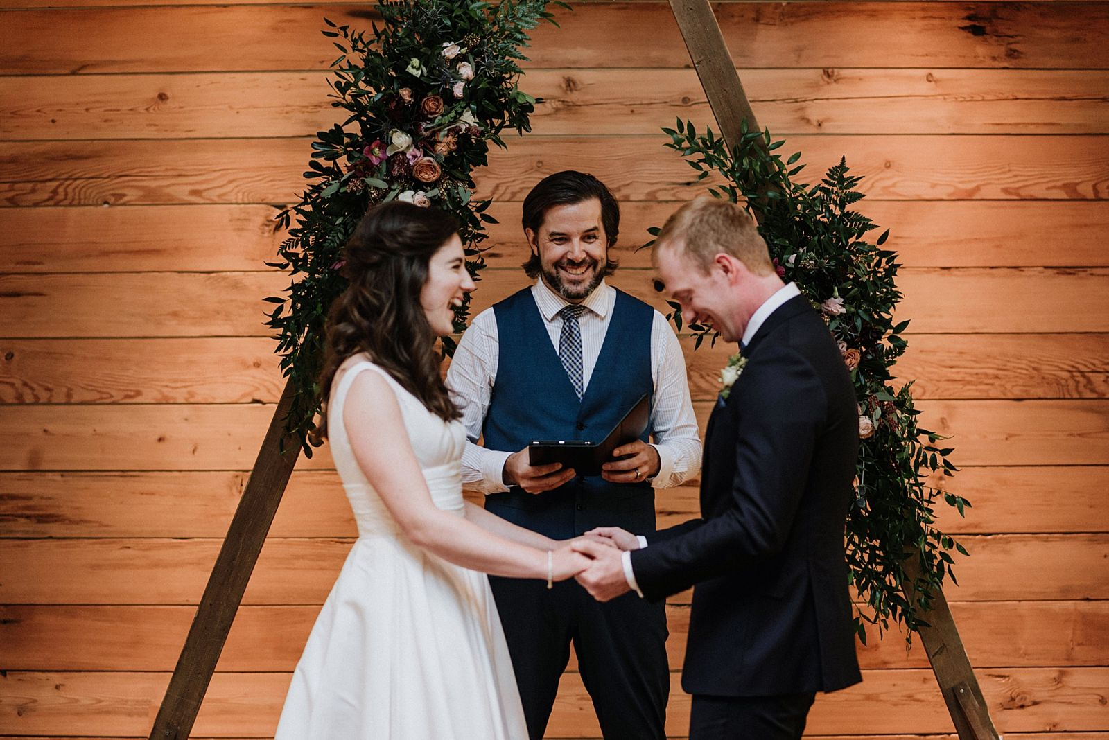 whistler officiant performing ceremony at brew creek center