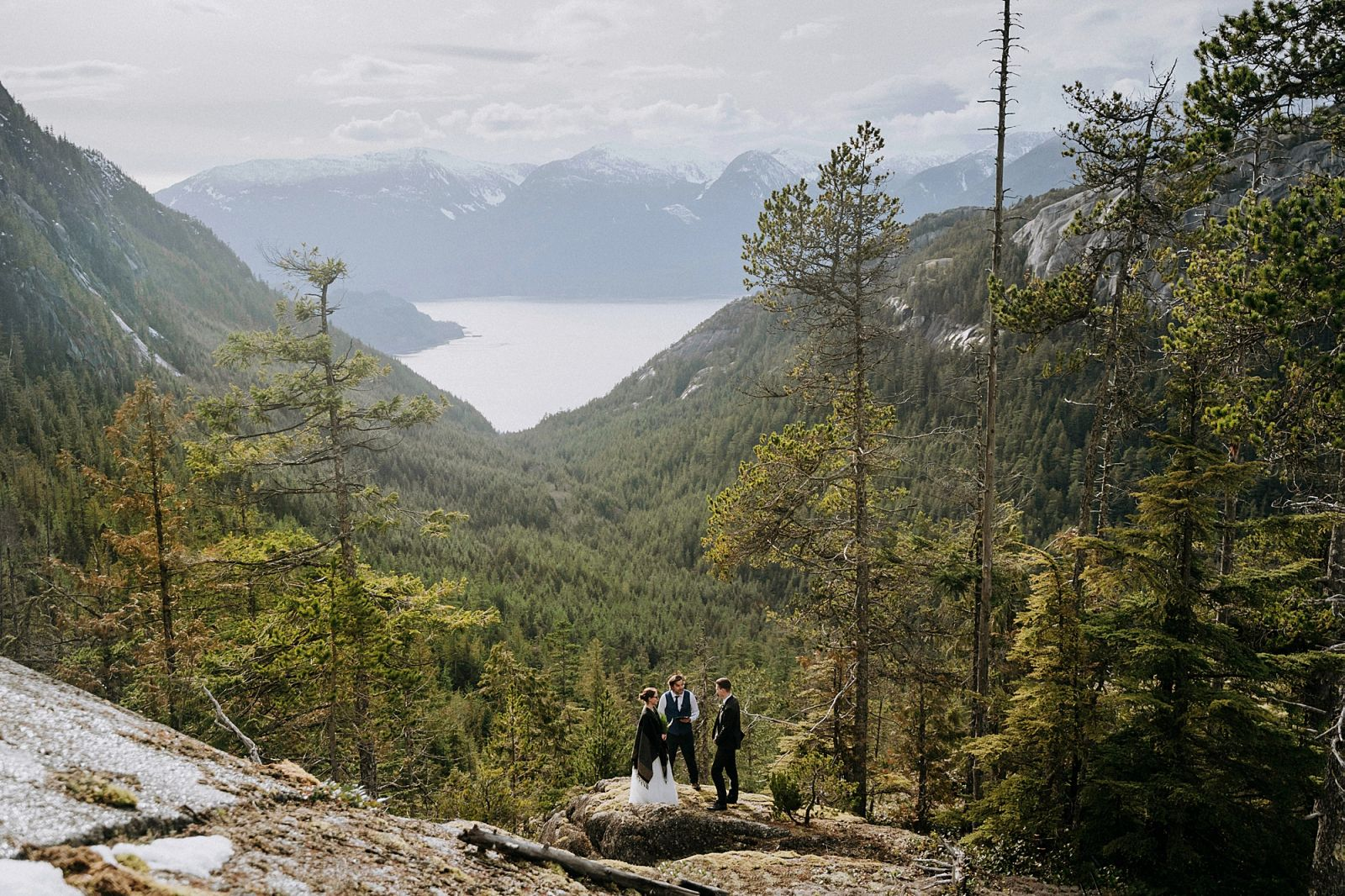 Whistler wedding officiant on mountaintop performing ceremony